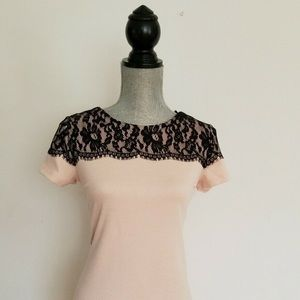 Black lace blush top shirt blouse